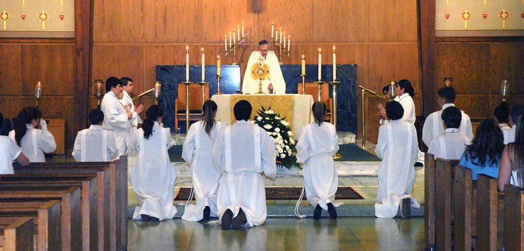 Altar Servers during Corpus Christi mass