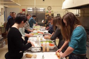 Youth Group making hoagie subs